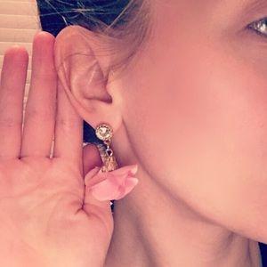 NEW Fashion Gold Pink Flower Dangle Earrings